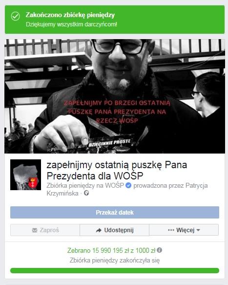 """szokostpuszkadamow - SZOOK! """"Ostatnia puszka Adamowicza dla WOŚP"""" na FB zamiast 1000 zł zebrano niemal 16 milionów zł!!! REKORD!"""