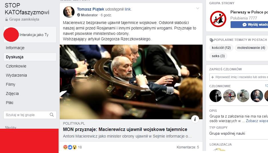 """dreygsxred - Słynny Tomasz Piątek moderatorem w antykatolickiej grupie """"Stop KATOfaszyzmowi""""?"""