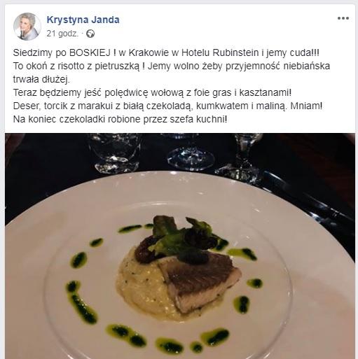 rehgserhg45h - Krystyna Janda chwali się drogą wykwintną kolacją! Fala krytyki z tego jednego powodu